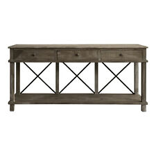 New console hall table Timber 3 Draw Console W/metal Crossbars ENTRY TABLE