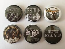 6 Led Zeppelin button badges Stairway to Heaven The Who Pink Floyd one two Three