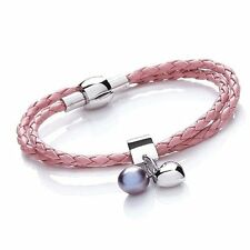 Tribal Steel 19cm Ladies Pink Double Leather Bracelet with Heart