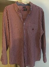 Mens size XL Chaps Easy Care Red White plaid button down shirt 1 Pocket Clean
