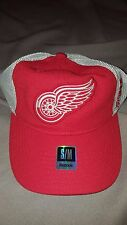 NHL DETROIT RED WINGS REEBOK RED WHITE MESH FITMAX MESH HAT ADULT SMALL MED NEW