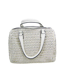 WHITE FULL METALLIC RHINESTONE LOOK SHOULDER HANDBAG FASHION BLING PURSE NEW