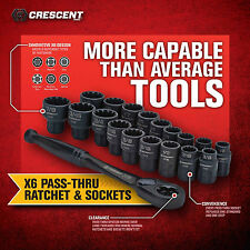 "Crescent X6 20 Pc Pass-Through Ratchet & Socket Set! SAE Metric 3/8"" Torx Square"