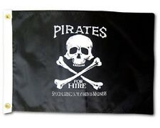 """PIRATES FOR HIRE BOAT FLAG 12X18"""" PIRATE JOLLY ROGER NEW SKULL AND CROSS BONES"""