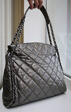 VERIFIED Authentic Chanel Silver Pewter Distressed Leather Chain Me Hobo Bag