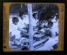 Philippine Islands, Mealtime at Home - Antique Magic Lantern Glass Slide