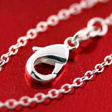 FS718 GENUINE REAL 925 STERLING SILVER S/F VERY FINE LINK PENDANT NECKLACE CHAIN
