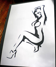 high detail airbrush stencil nude girl FREE uk POSTAGE