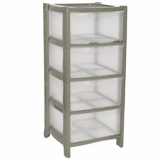 4 Drawer Plastic Large Tower Storage Drawers Chest Unit with Wheels MADE IN U.K