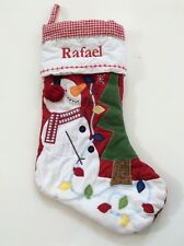 Pottery Barn Kids Christmas Red Gingham Quilted Snowman Stocking Name RAFAEL New