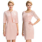 Plus Size Vintage Pink Lace Mother Of The Bride Dress Prom Gowns +Free Jacket