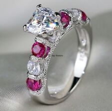Sz8 Cocktail S925 Silver Heart CZ White Gold Filled Ruby Women's Wedding Ring