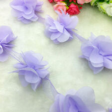 New Hot 1 Yard Light Purple Flower Chiffon Wedding Dress Bridal Fabric Lace Trim