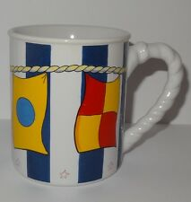 Sailing Ship Flags Coffee Mug 13 oz Cup Papel Giftware  Multi-Color Rope