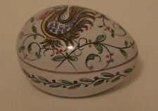Egg Shaped Ceramic Box Rooster Bird Design Signed Anfora Agueda Hand Painted