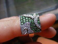 14k Samuel Benham Pave Diamond Emerald Flower Floral Ring Pop Art White Gold