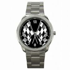 Racing Checkered Flag Nascar Indy Race Fan Stainless Steel Sport Watch New!
