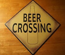 CAUTION BEER CROSSING BOTTLE SIGN College Dorm Room Bar Tavern Pub Decor New