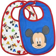 NEW DISNEY BABY MICKEY MOUSE BIB BLUE SOFT 2 X BIBS - BRAND NEW IN PACKET !