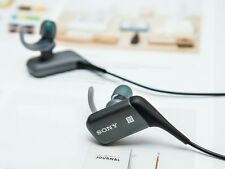 Genuine SONY MDR AS600BT Wireless In Ear Headphones HeadSet Bluetooth Black/Grey