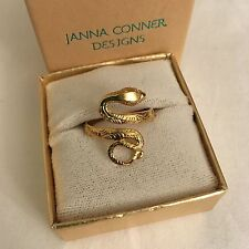NIB Janna Conner 14k Gold Plate Snake Coil Ring size 7 adjustable