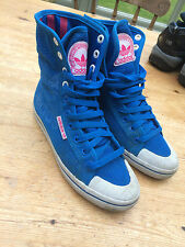 VTG ADIDAS BLUE HI TOP TRAINERS SIZE UK 4.5 BASKETBALL SKATE SHOES SPORT LACE