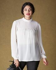 Simply Be Womens High Neck Victoriana Sheer Blouse Top 18 BNWT Ivory Uk Freepost