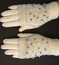 Luxury Rhinestone and Pearl Knit Convertible Mitten Gloves White