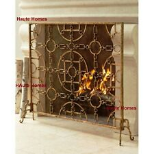 NEW Horchow FRENCH Single Panel GOLD Geometrical Fireplace Screen with Mesh back