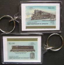 1951 Kansas City Southern Class GP7 Train Stamp Keyring (Loco 100)