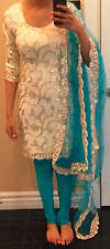 Blue white Designer Party wear Punjabi Patiala Salwar/pazami kameez Wedding suit