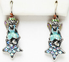 KIRKS FOLLY BLUE BUTTERFLY FAIRY PIERCED EARRINGS silvertone