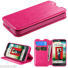 Wallet Leather Phone Cover Case for LG OPTIMUS L70 MS323 EXCEED 2 II HOT PINK