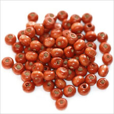 Lot de 100 perles rondes en Bois 6mm Rouge Orangé
