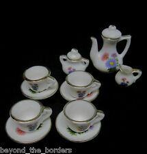 11-Piece Miniature Porcelain Tea Set for Doll House – Blue /Violet/Pink Flowers