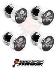 4 Silver Billet Aluminum License Plate Frame Tag Bolts - SKULL AND BONES MDU