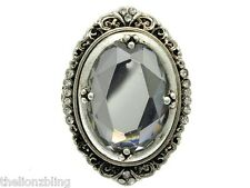 Gothic Hip Hop Chunky style Antiqued Silver Stretch Ring with framed Glass Bling