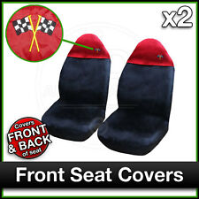 BLACK / RED Car Seat Covers UNIVERSAL Protectors PAIR x 2 Water Proof FRONT