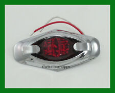 "Marker Clearance Surface Mount Red LED Light wtih Chrome Bezel 2-5/8"" X 1-1/4"""