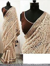 Latest Indian Ethnic Sari Designer Off White Embroidered Party Wear Wedding Sari