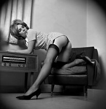1960s Pinup bending to tune a Telefunken radio Jacked up skirt 8 x 8 Photograph