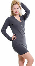 Eskaay Womens Long Sleeve Shirt Henley Neck Casual Evening Summer Button Placket