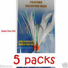 5packs Size 5/0 Fishing Rockfish Rig 2Hook Feather Grouper Bass Baits #5/0 White