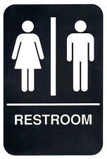 """Braille Unisex ADA Plastic Restroom Sign - 6"""" x 9"""" - Bathroom handicap  Sign"""