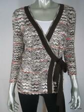 $1120 M MISSONI 8 Zig Zag Brown Multi Knit Cardigan Sexy Wrap Sweater Italy EUC