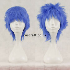 Breve Layered SOFFICI spikeable Cosplay Parrucca, blu indaco, UK Venditore, Jack stile
