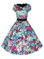 Ladies 40s 50's Vintage Style Woodland Floral Scallop Neck Tea Dress BNWT 8 - 18