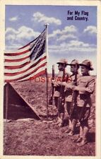FOR MY FLAG AND COUNTRY - three WWI soldiers stand at attention