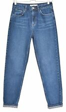 Topshop MOM High Waisted Vintage Dark Blue Tapered Crop Jeans Size 10 W28 L32