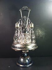 VINTAGE SILVERPLATE CONDIMENT SET W. OIL & VINEGAR, S & P AND SUGAR JAR, EXCELLE